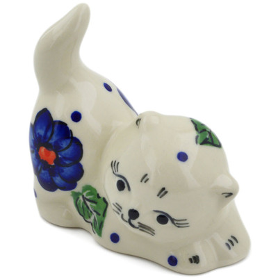 "Polish Pottery Cat Figurine 3"" Greek Poppies"