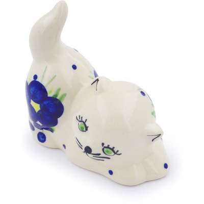 "Polish Pottery Cat Figurine 3"" Passion Poppy"