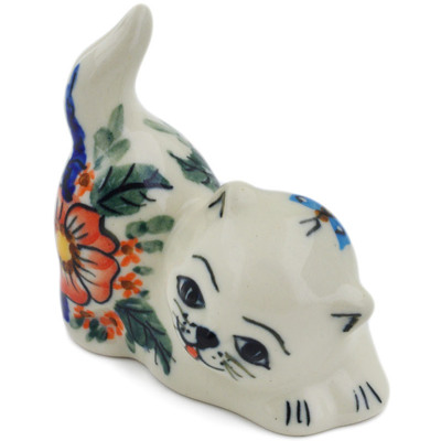 "Polish Pottery Cat Figurine 3"" Spring Splendor UNIKAT"