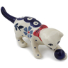 "Polish Pottery Cat Figurine 5"" Peacock Forget-me-not"