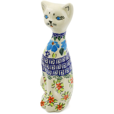 "Polish Pottery Cat Figurine 9"" Pansy Morning"