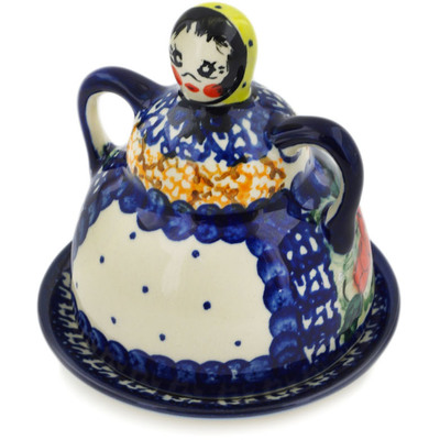 "Polish Pottery Cheese Lady 4"" Colorful Bouquet UNIKAT"