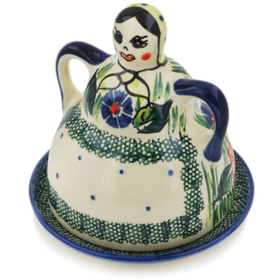 "Polish Pottery Cheese Lady 4"" Yellow Flower UNIKAT"