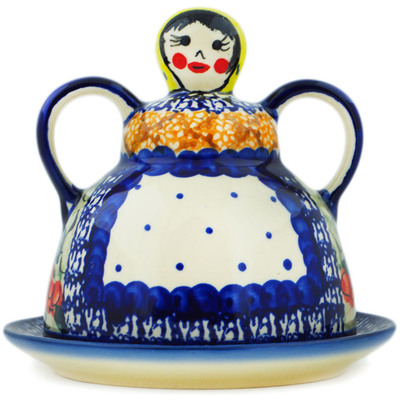 "Polish Pottery Cheese Lady 6"" Colorful Bouquet UNIKAT"
