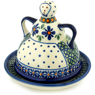 "Polish Pottery Cheese Lady 6"" Gingham Flowers"