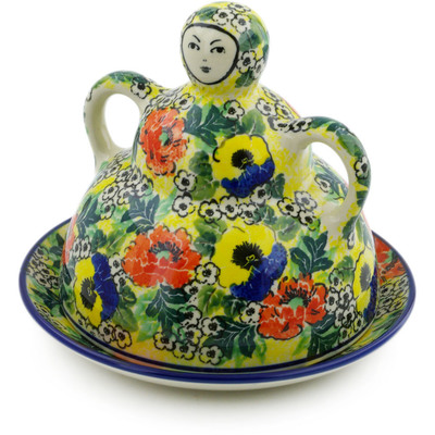 "Polish Pottery Cheese Lady 8"" Breathtaking UNIKAT"