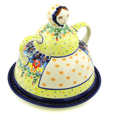"Polish Pottery Cheese Lady 8"" Bright Eyes UNIKAT"
