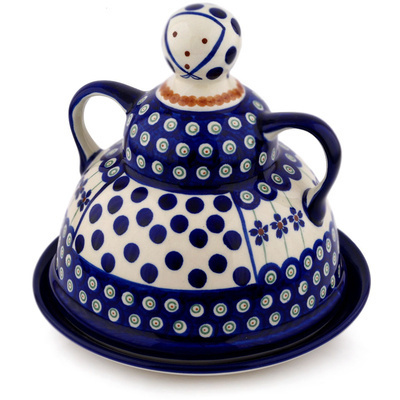 "Polish Pottery Cheese Lady 8"" Flowering Peacock"