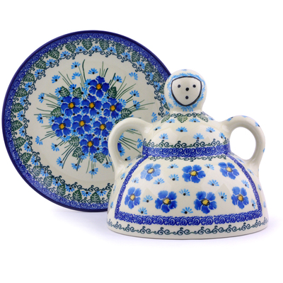 "Polish Pottery Cheese Lady 8"" Forget Me Not UNIKAT"