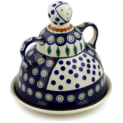 "Polish Pottery Cheese Lady 8"" Peacock Leaves"