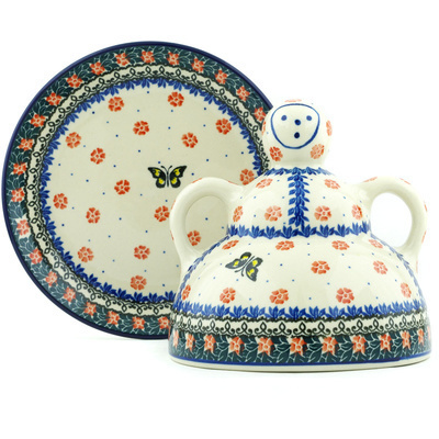 "Polish Pottery Cheese Lady 8"" Spring Butterfly"