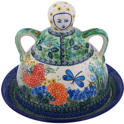 "Polish Pottery Cheese Lady 9"" Garden Delight UNIKAT"