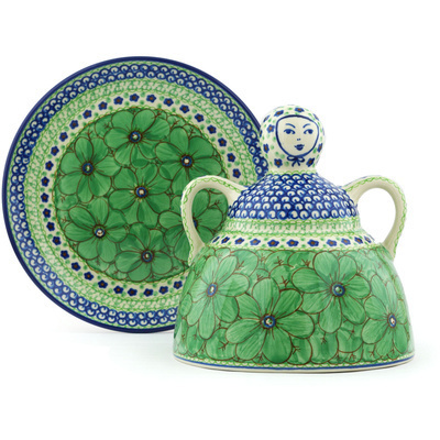 "Polish Pottery Cheese Lady 9"" Key Lime Dreams UNIKAT"
