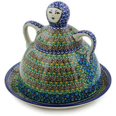 "Polish Pottery Cheese Lady 9"" Mardi Gra UNIKAT"