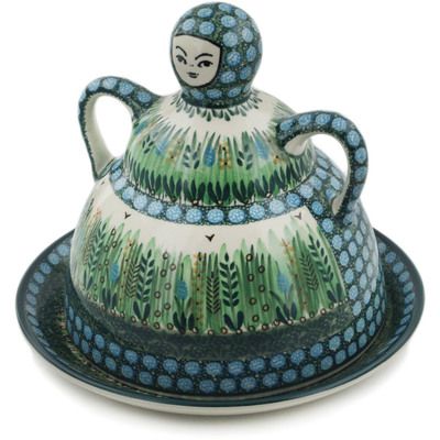 "Polish Pottery Cheese Lady 9"" Prairie Land UNIKAT"