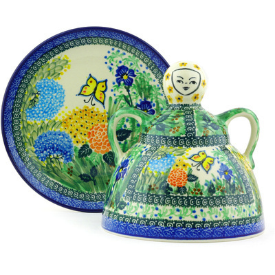 "Polish Pottery Cheese Lady 9"" Spring Garden UNIKAT"