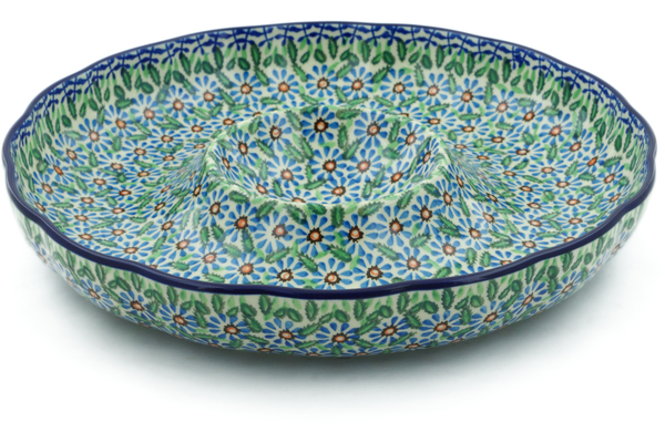 Polish Pottery Chip And Dip Platter 12