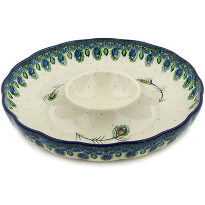 "Polish Pottery Chip and Dip Platter 12"" Peacock Feather"