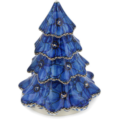 "Polish Pottery Christmas Tree 7"" Cobalt Poppies UNIKAT"