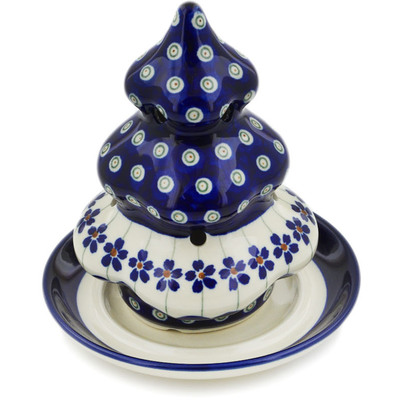"Polish Pottery Christmas Tree Candle Holder 6"" Flowering Peacock"