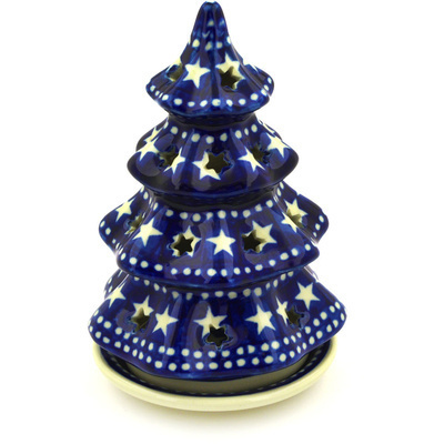 "Polish Pottery Christmas Tree Candle Holder 6"" Midnight Stars"