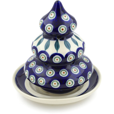 "Polish Pottery Christmas Tree Candle Holder 6"" Peacock Leaves"