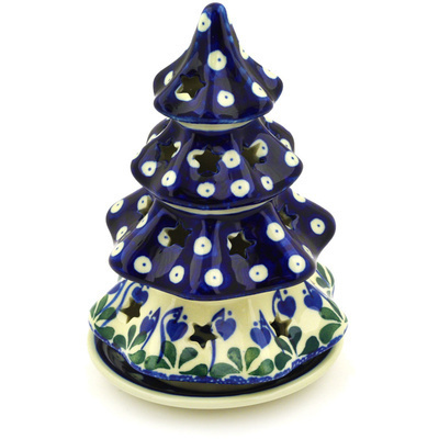 "Polish Pottery Christmas Tree Candle Holder 7"" Bleeding Heart Peacock"