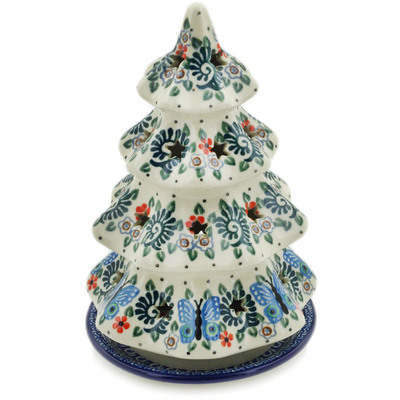 "Polish Pottery Christmas Tree Candle Holder 8"" Blue Butterfly Brigade UNIKAT"