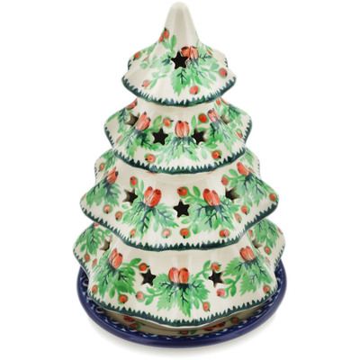 "Polish Pottery Christmas Tree Candle Holder 8"" Cranberry Delight UNIKAT"