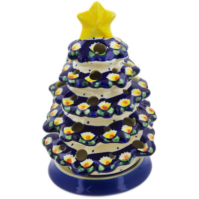"Polish Pottery Christmas Tree Candle Holder 8"" Waterlily"