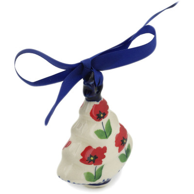 "Polish Pottery Christmas Tree Ornament 3"" Wind-blown Poppies"