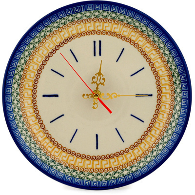 "Polish Pottery Clock 10"" Grecian Sea"
