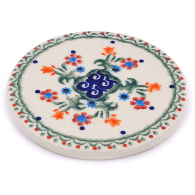 "Polish Pottery Coaster 3"" Spring Flowers"