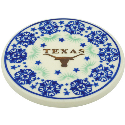 "Polish Pottery Coaster 3"" Texas State"