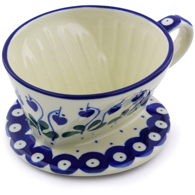 "Polish Pottery Coffee Filter 5"" Bleeding Heart Peacock"