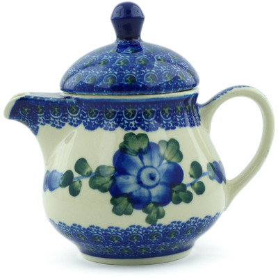 Polish Pottery Coffee server Blue Poppies