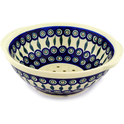 "Polish Pottery Colander 10"" Peacock Leaves"