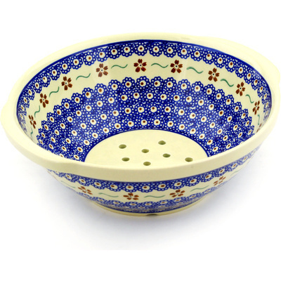 "Polish Pottery Colander 10"" Sweet Red Flower"