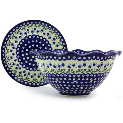 "Polish Pottery Colander with Plate 13"" Bleeding Heart Peacock"
