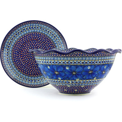 "Polish Pottery Colander with Plate 13"" Cobalt Poppies UNIKAT"