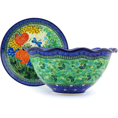 "Polish Pottery Colander with Plate 13"" Garden Delight UNIKAT"