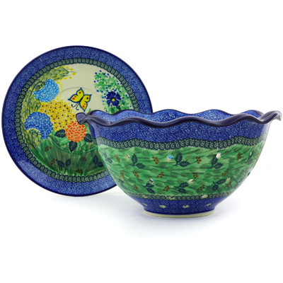 "Polish Pottery Colander with Plate 13"" Spring Garden UNIKAT"