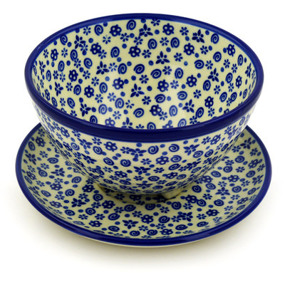 "Polish Pottery Colander with Plate 8"" Blue Confetti"