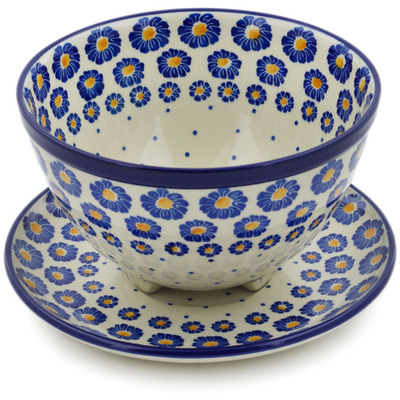 "Polish Pottery Colander with Plate 8"" Blue Zinnia"