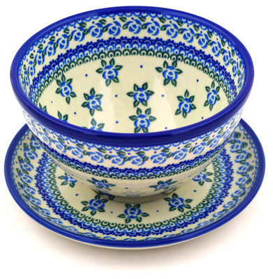 "Polish Pottery Colander with Plate 8"" Bluebuds"