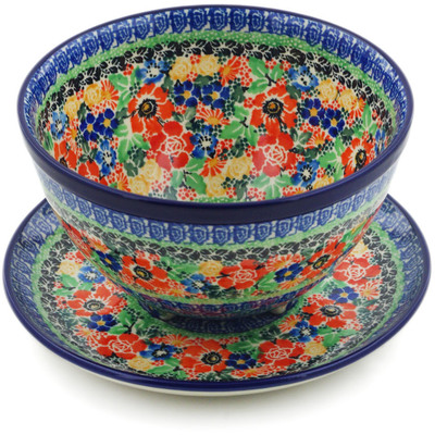 "Polish Pottery Colander with Plate 8"" Bountiful Basket UNIKAT"