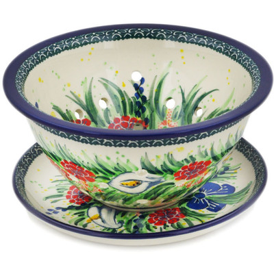 "Polish Pottery Colander with Plate 8"" Canna Lily Elegance UNIKAT"