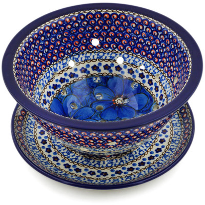 "Polish Pottery Colander with Plate 8"" Cobalt Poppies UNIKAT"