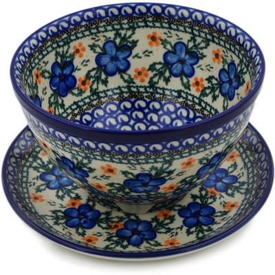 "Polish Pottery Colander with Plate 8"" Cobblestone Garden"
