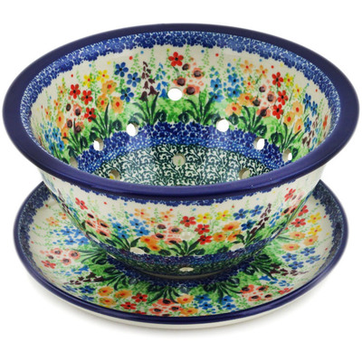 "Polish Pottery Colander with Plate 8"" Colors Of The Wind UNIKAT"